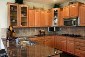 kitchen with brown wood cabinets