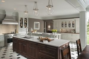 kitchen with white cabinets and tile floor
