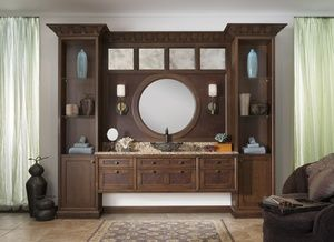 bathroom with brown wood and circular mirror